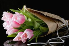 A bunch of pink tulips stock image
