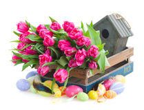 Bunch of pink tulips and easter eggs Royalty Free Stock Photo