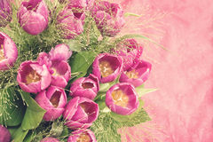 Bunch of pink tulips, vintage style Stock Images