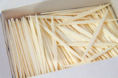 Bunch of plain brown toothpicks on white Royalty Free Stock Photos