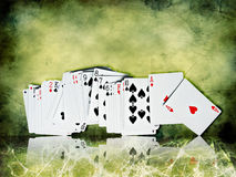 Bunch of playing cards. On grunge  background Stock Photo