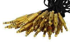 Bunch of plugs. A bundle of audio cables, isolated Stock Photography