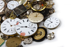 Bunch of pocket watch clockworks Stock Photography