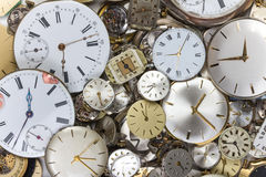 Bunch of pocket watch clockworks Royalty Free Stock Images