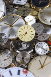 Bunch of pocket watch clockworks Stock Images
