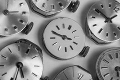 Bunch of pocket watch clockworks in black and white Royalty Free Stock Photography