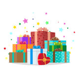 Bunch of Presents Illustration. Holiday Collection Royalty Free Stock Image