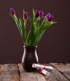 Bunch of purple tulips Stock Images
