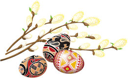 Bunch of pussy-willow and beautiful easter eggs. Stock Image