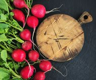Bunch of radish with empty board. On the black stone background Royalty Free Stock Photos