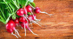 Bunch of radish on wooden board. Bunch of radish with green leaves on wooden board Stock Photography