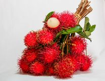 Bunch Rambutan fruit. With fresh on white background,Thailand fruit Stock Photos