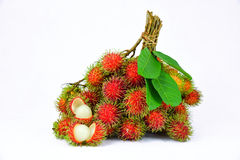 Bunch of rambutans on the white background. Rambutan on the white background Royalty Free Stock Images