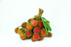 Bunch of rambutans on the white background. Rambutan on white background,isolate Royalty Free Stock Image