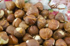 Bunch of raw hazelnuts Stock Photos