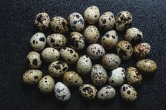 Bunch of raw spotted quail eggs. On a black background. Protein source Royalty Free Stock Photo