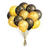 Bunch of realistic black and gold helium balloons. Isolated on white background. Party decorations for birthday, anniversary, celebration. Vector illustration Stock Photos