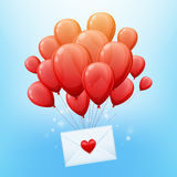 Bunch or red balloons with love letter envelope. Vector illustration. Good for birthday valentines day party invitation design Royalty Free Stock Image