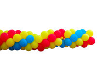 Bunch of red, blue and yellow balloons isolated over white Stock Images