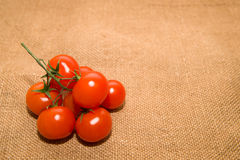 Bunch of red cherry tomatoes on old cloth Royalty Free Stock Photos