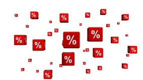 A Bunch of Red Cubes with Percent symbols stock video footage