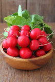 Bunch of a red garden radish. With green leaves on a brown background royalty free stock photo