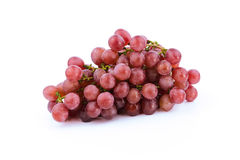 Bunch of red grapes , fresh with water drops.  on white Royalty Free Stock Photos