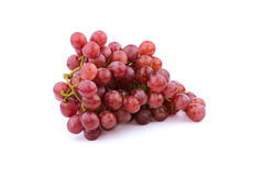Bunch of red grapes , fresh with water drops.  on white Royalty Free Stock Photography