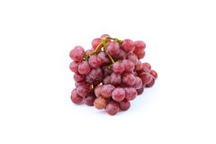 Bunch of red grapes , fresh with water drops.  on white Stock Photo