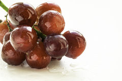 Bunch of Red Grapes and Mouthwatering Mist. Bunch of red grapes in studio close-up with a mist of fresh water drops on a white background. Copy space area for Stock Photo