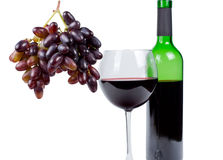 Bunch of red grapes with red wine Stock Photos