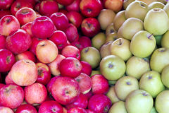Bunch of red and green apples closeup Stock Photography