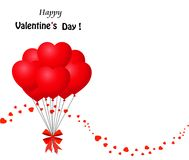 Bunch of red heart balloons with ribbon and confetti wave. Happy Valentine`s day greeting card with bunch of red heart shaped balloons wrapped with festive Stock Photos