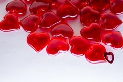 A bunch of red hearts isolated on white background, macro. Valentine`s day. royalty free stock images