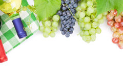 Bunch of red, purple and white grapes and wine bottles Stock Image