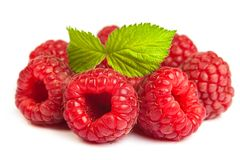 Bunch of a red raspberry on a white background. Close up macro s Stock Photography