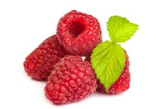 Bunch of a red raspberry on a white background. Close up macro s Stock Image