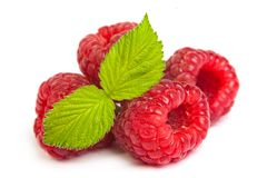 Bunch of a red raspberry on a white background. Close up macro s Stock Photo