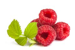 Bunch of a red raspberry on a white background. Close up macro s Royalty Free Stock Photos