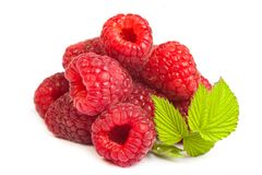 Bunch of a red raspberry on a white background. Close up macro s. Hot. Image was professionally retouched Royalty Free Stock Image