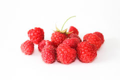 Bunch of a red raspberry. On a white background. Close up macro shot Stock Image