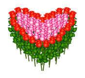 Bunch of red roses. In heart shape, vector Stock Images