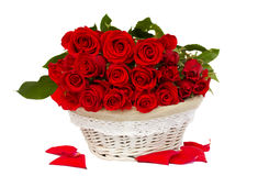 Bunch of red roses in basket Royalty Free Stock Photo