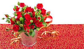 Bunch red roses in bucket postcard Royalty Free Stock Images