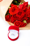 Bunch of red roses isolated on white background Stock Image