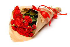 Bunch of red roses isolated on white background Stock Photos