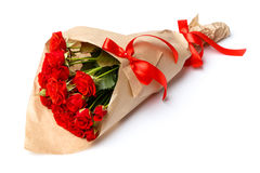 Bunch of red roses isolated on white background Royalty Free Stock Images