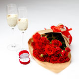 Bunch of red roses isolated on white background Royalty Free Stock Photos