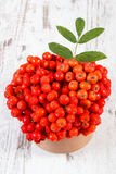 Bunch of red rowan with leaves on rustic wooden background Stock Photo