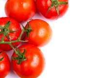 Bunch of red salad tomatoes on white table stock image